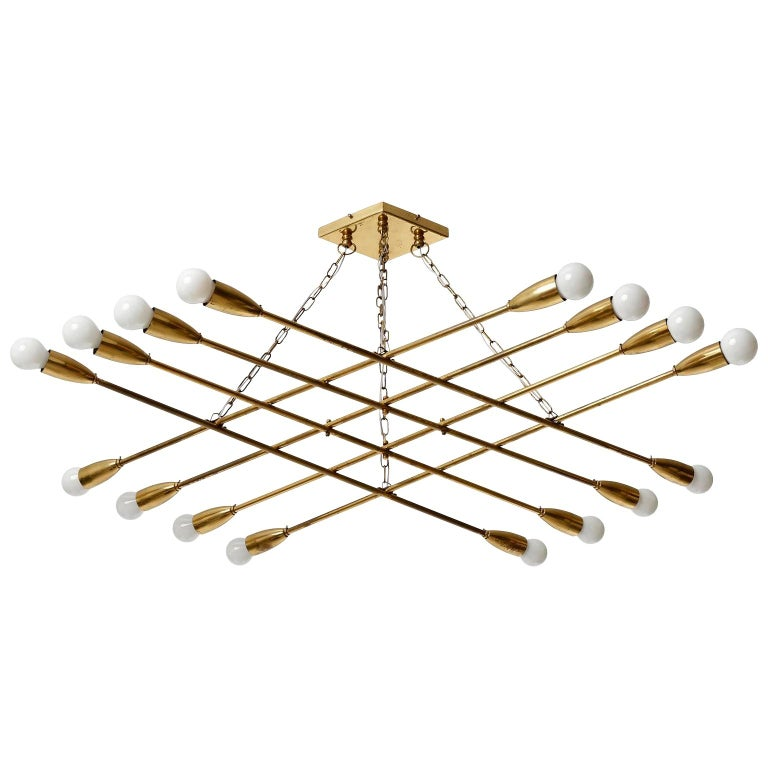 Large Patinated Brass Pendant Light Chandelier by Rupert Nikoll, 1960s For Sale
