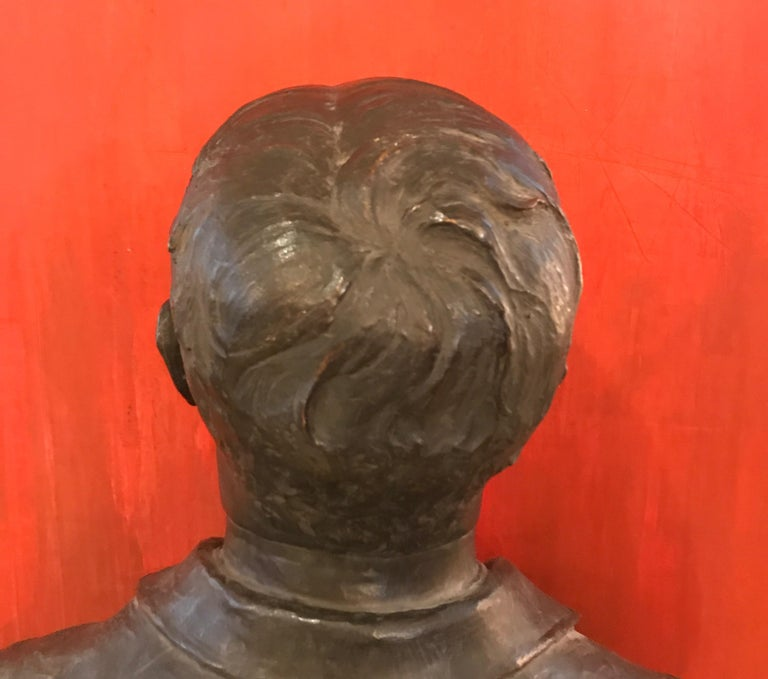 Large Patinated Bronze Bust of a 19th Century Gentleman For Sale 5