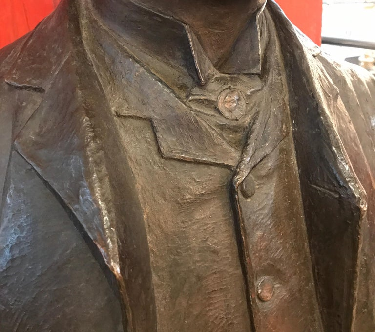 Large Patinated Bronze Bust of a 19th Century Gentleman For Sale 1