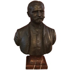 Large Patinated Bronze Bust of a 19th Century Gentleman