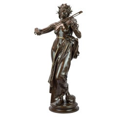 Large Patinated Bronze Sculpture by Eugene Dela Planche, Signed 19th Century