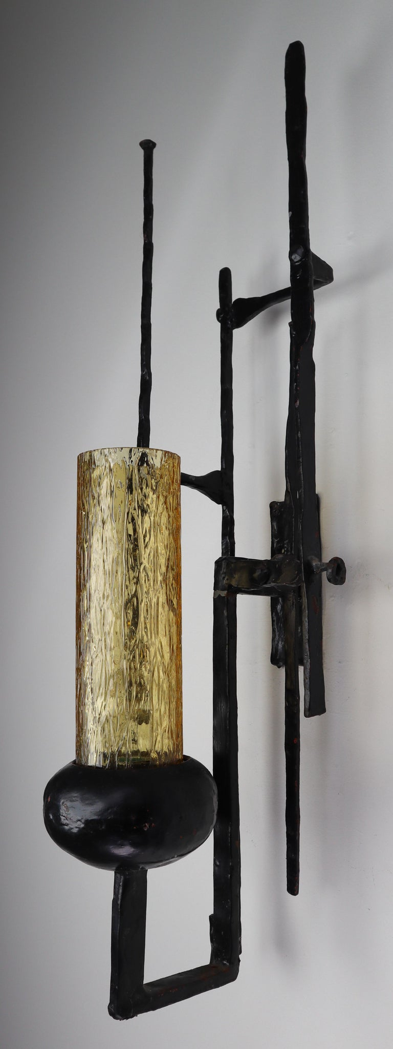 Large Patinated Iron and Amber Color Glass Brutalist Wall Lights Sculptures For Sale 3