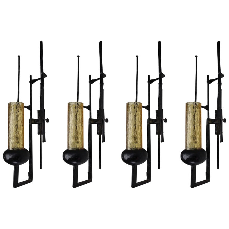 Large Patinated Iron and Amber Color Glass Brutalist Wall Lights Sculptures For Sale