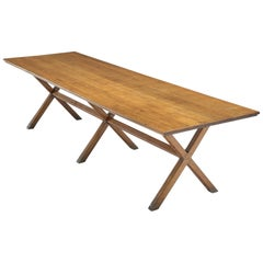 Large Patinated Solid Oak Dining Table