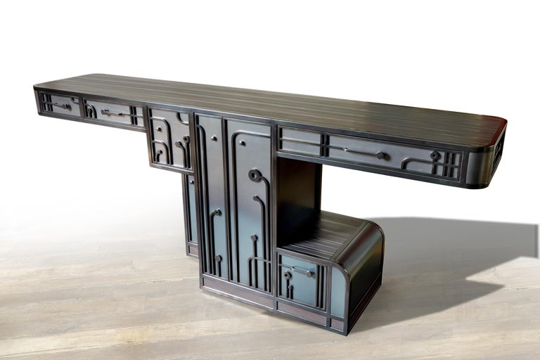 Contemporary Large Patinated Steel Console / Cabinet one of a kind by C.Wagenaar For Sale
