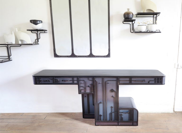 Large Patinated Steel Console / Cabinet one of a kind by C.Wagenaar For Sale 1