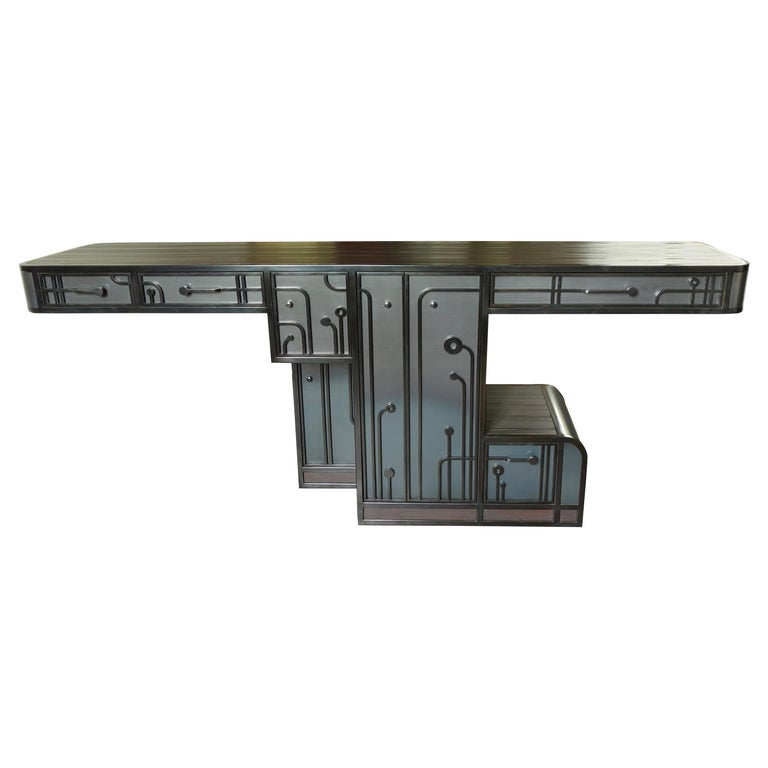 Large Patinated Steel Console / Cabinet one of a kind by C.Wagenaar For Sale