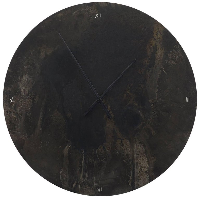 Large Patinated Steel Wall Clock with Artist's Hand Etched Numerals For Sale