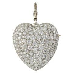 Large Pave Diamond Set Heart Brooch Pendant