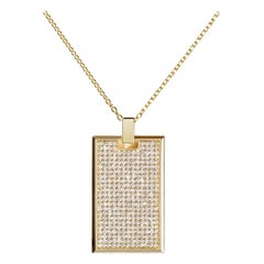 Large Pave Diamond Tag Necklace in 18k Yellow Gold
