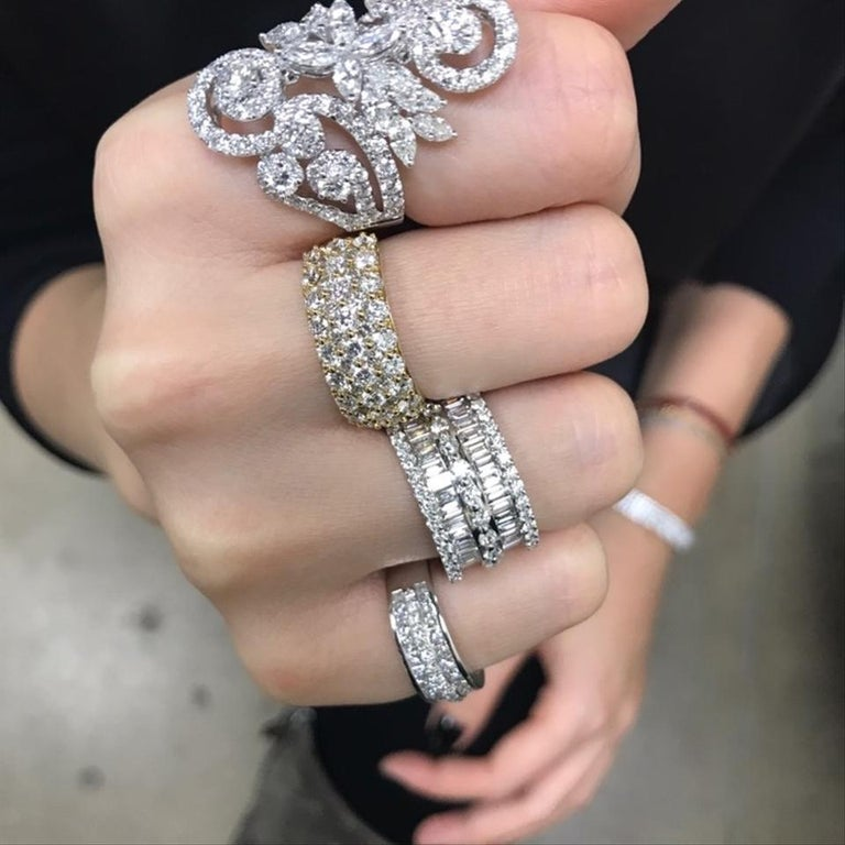 Large Pave Round Baguette Wide Statement Right Hand Ring 6