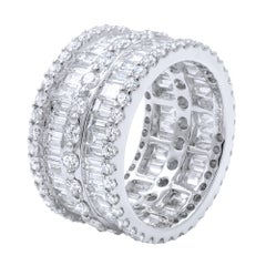 Large Pave Round Baguette Wide Statement Right Hand Ring 6.06 Carat