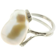 Large Pearl and Diamond Cocktail Ring in 18 Karat White Gold