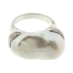 Large Pearl and Diamond Ring in 18 Karat White Gold