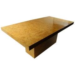 Large Pedestal Base Burl Dining Table by Baughman for Dillingham