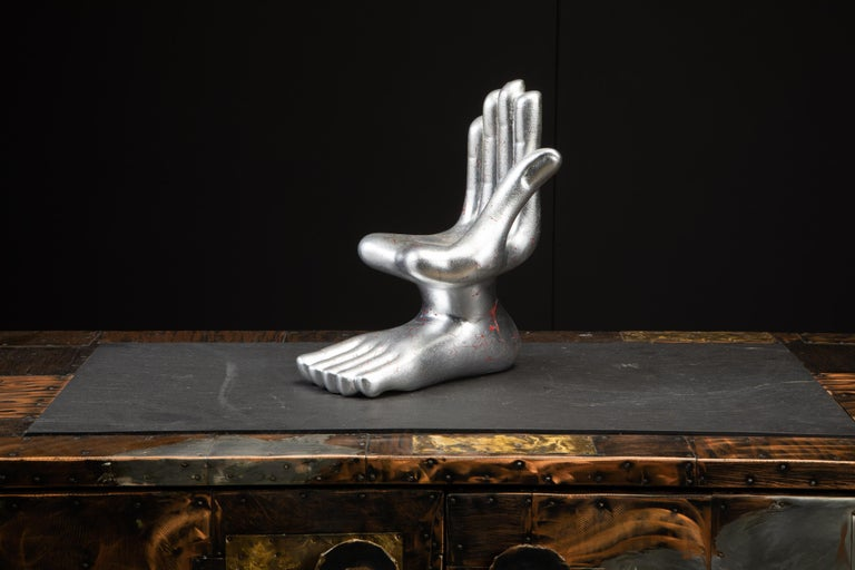 Large Pedro Friedeburg Silver Leaf Hand Foot Sculpture with COA, Signed For Sale 2