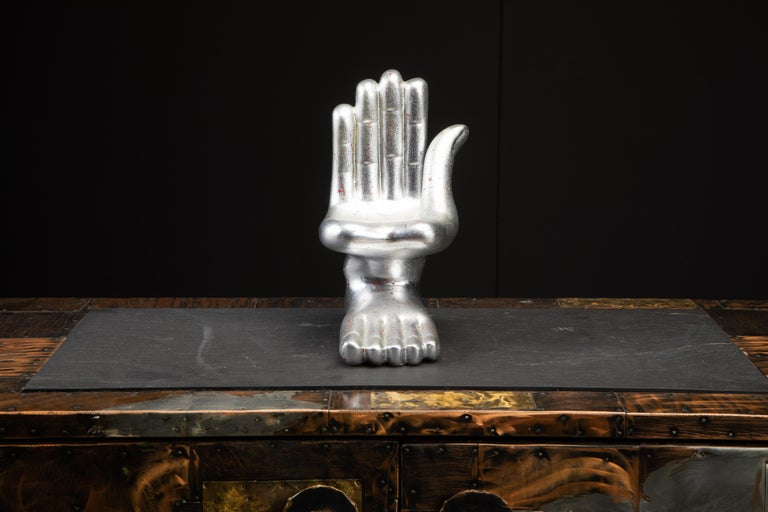 Large Pedro Friedeburg Silver Leaf Hand Foot Sculpture with COA, Signed For Sale 3