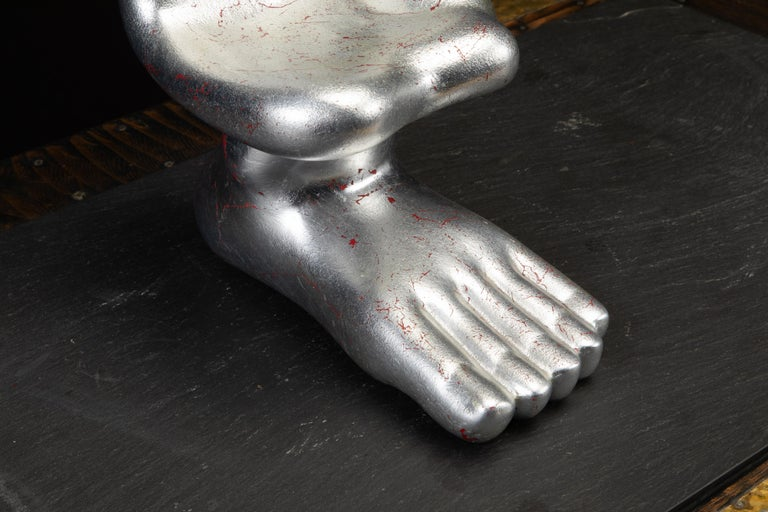 Large Pedro Friedeburg Silver Leaf Hand Foot Sculpture with COA, Signed For Sale 5