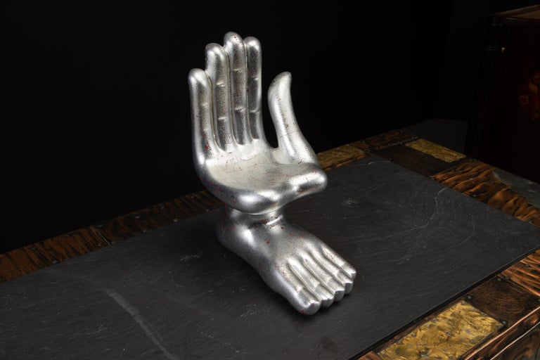 Large Pedro Friedeburg Silver Leaf Hand Foot Sculpture with COA, Signed For Sale 6