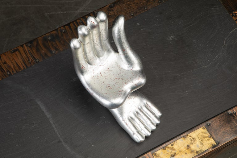 Large Pedro Friedeburg Silver Leaf Hand Foot Sculpture with COA, Signed For Sale 7