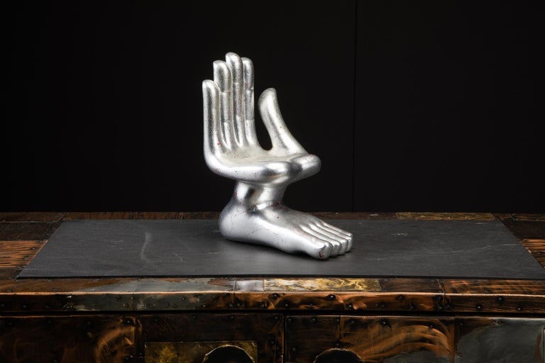 This incredible hand foot sculpture by Pedro Friedeburg (signed underneath) includes a certificate of authenticity by LOS CONTEMPORÁNEOS, more details below about this significant historical group. This ceramic sculpture is the larger sized