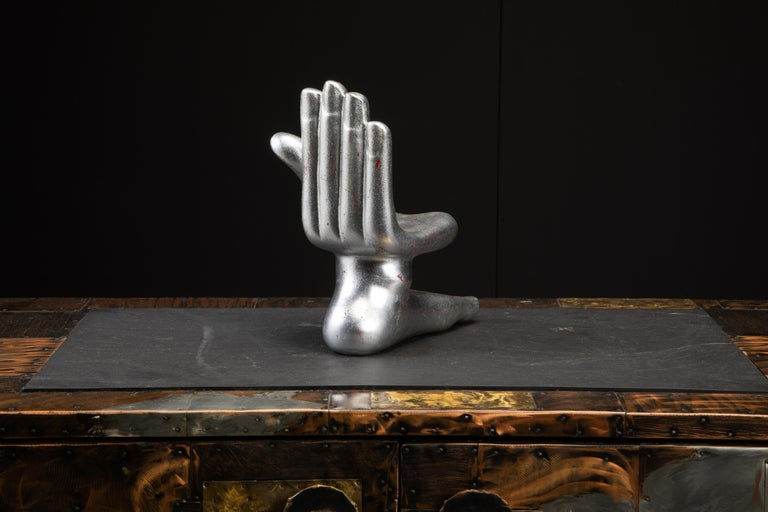 Large Pedro Friedeburg Silver Leaf Hand Foot Sculpture with COA, Signed In Excellent Condition For Sale In Los Angeles, CA