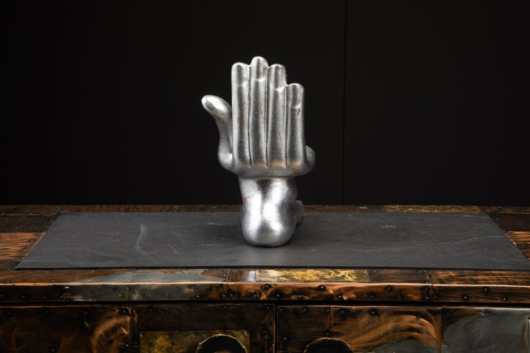 20th Century Large Pedro Friedeburg Silver Leaf Hand Foot Sculpture with COA, Signed For Sale