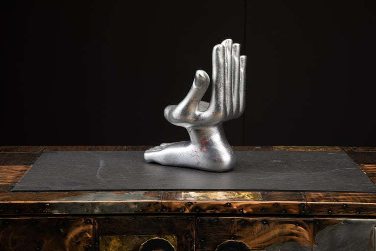 Ceramic Large Pedro Friedeburg Silver Leaf Hand Foot Sculpture with COA, Signed For Sale