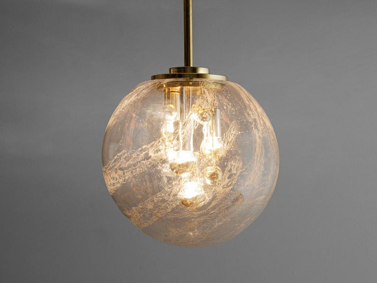 Mid-Century Modern Large Pendant in Brass and Glass For Sale