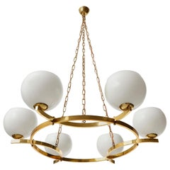 Large Pendant Light Chandelier, Opal Glass Brass, 1960
