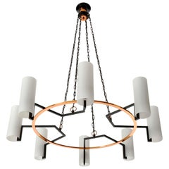 Large Pendant Light Chandelier, Opal Glass Copper Black Metal, 1970