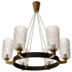 Large Pendant Light Chandelier, Rupert Nikoll, Glass Brass Black Iron, 1960