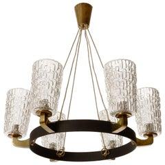 Large Pendant Light Chandelier, Rupert Nikoll, Glass Brass Black Iron, 1960
