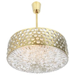 Large Pendant Light with Aged Brass Glass by Rupert Nikoll, Austria, 1960s