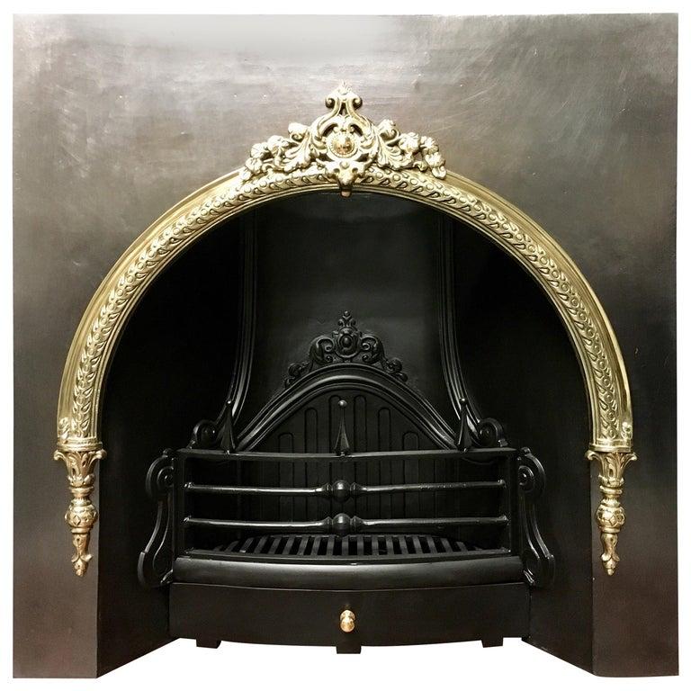 Strange Large Period Cast Iron And Brass Arch Victorian Manor Fireplace Insert Download Free Architecture Designs Pushbritishbridgeorg