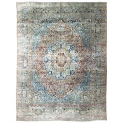 Large Persian Antique Mashad Carpet with Colorful Floral and Medallion Design