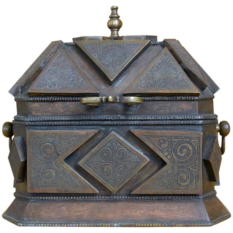 Large Persian Chiseled Bronze Box Islamic Art, 19th Century