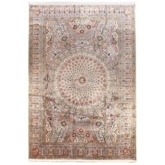 Large Persian Ghom Silk Rug with Green and Gold Floral Details