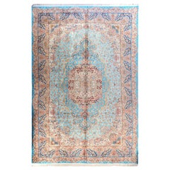 Large Persian Ghom Silk Rug with Red and Beige Floral Details on Blue Field