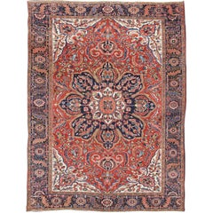 Large Persian Heriz Rug with Geometric Medallion in Rust, Pink, Green and Blue