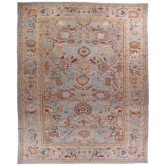 Large Persian Oushak Style Rug with Beige & Brown Floral Patterns on Blue Field