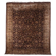 Large Persian Silk and Wool Area Carpet