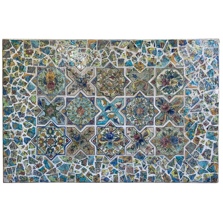 Large Persian Tile Wall Hanging For Sale