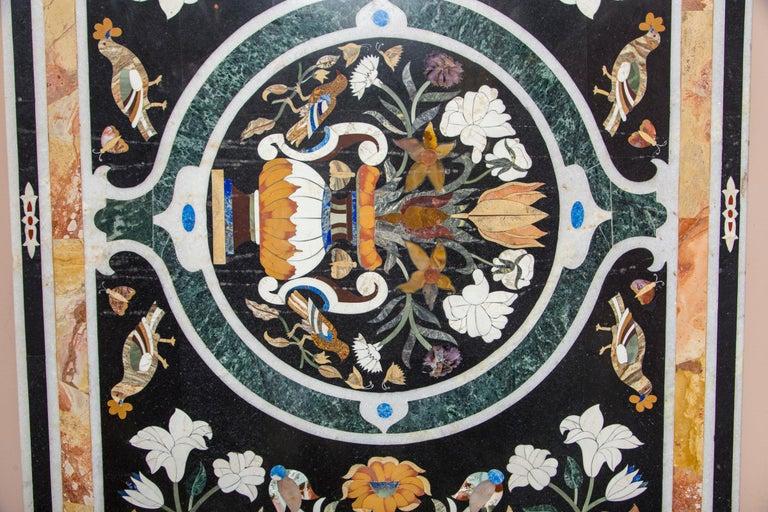 Inlay Large Petra Dura Rectangular Table Top For Sale
