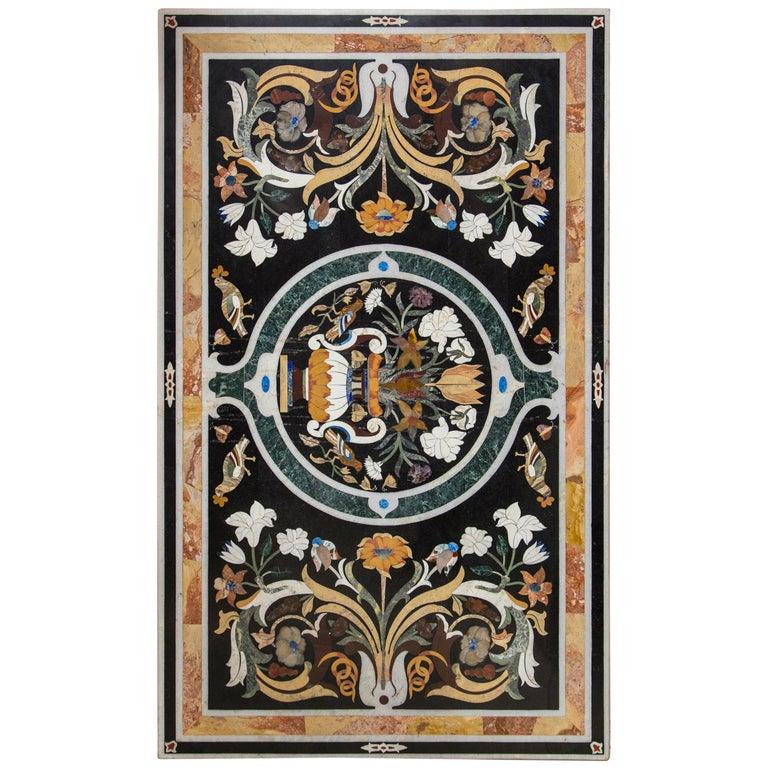 Large Petra Dura Rectangular Table Top For Sale