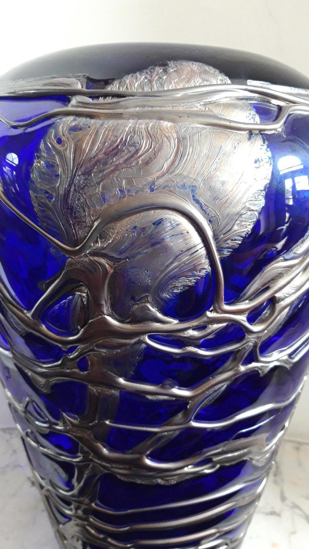 Art Deco Large Pewter Mounted Crystal Blue Vase For Sale