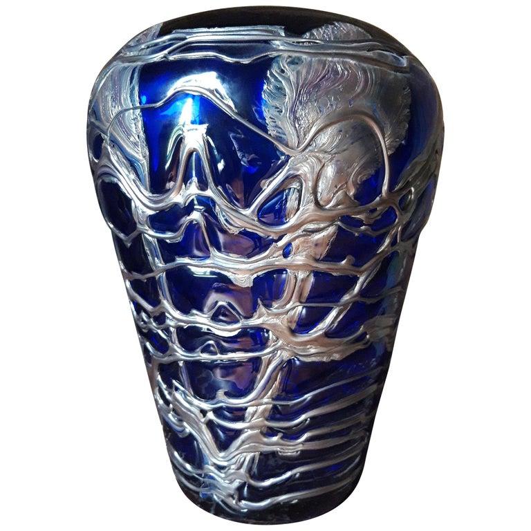Large Pewter Mounted Crystal Blue Vase For Sale