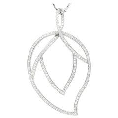 Large Piaget 3.15 Carat Diamond 18 Karat White Gold Leaf Pendant with Chain