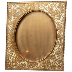 Large Picture Frame, Signed Tiffany Studios, Gilt Finish, Grapevine Pattern 1905