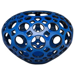 Large Pierced Ceramic Tabletop Orb Sculpture, Cobalt Blue